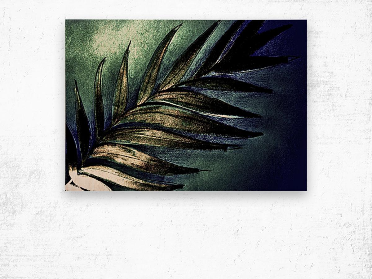 GREEN METALLIC PALM TREE LEAF TROPICAL DESIGN Wood print