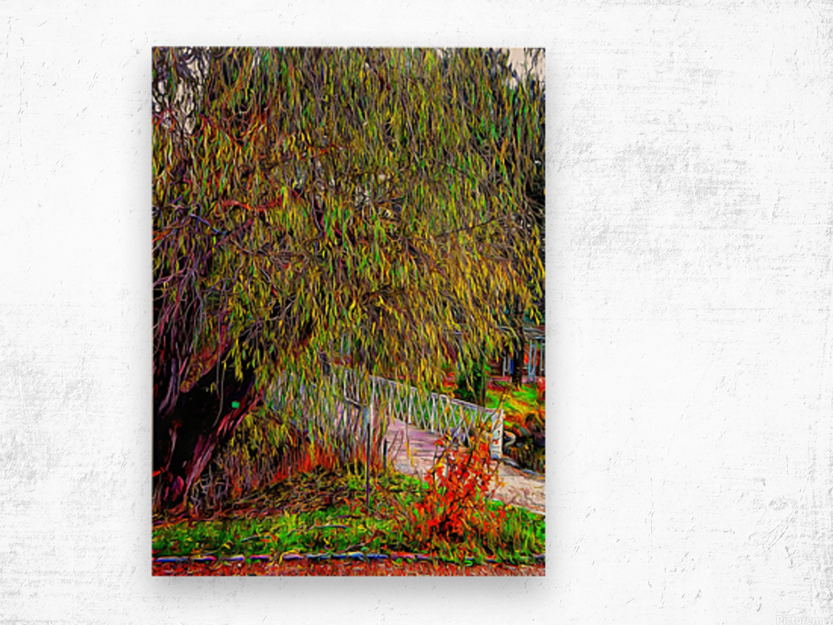 The Willow Bridge Wood print