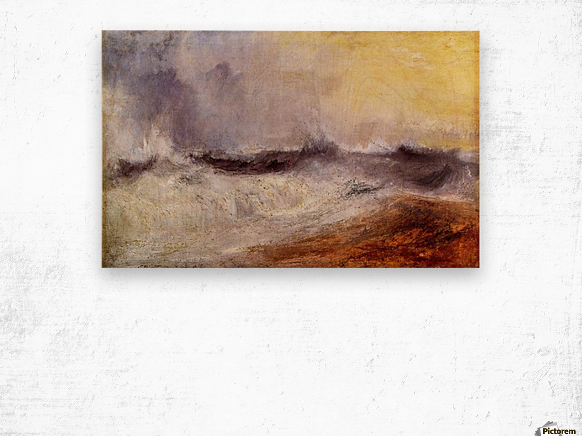 Waves breaking against the wind by Joseph Mallord Turner Wood print