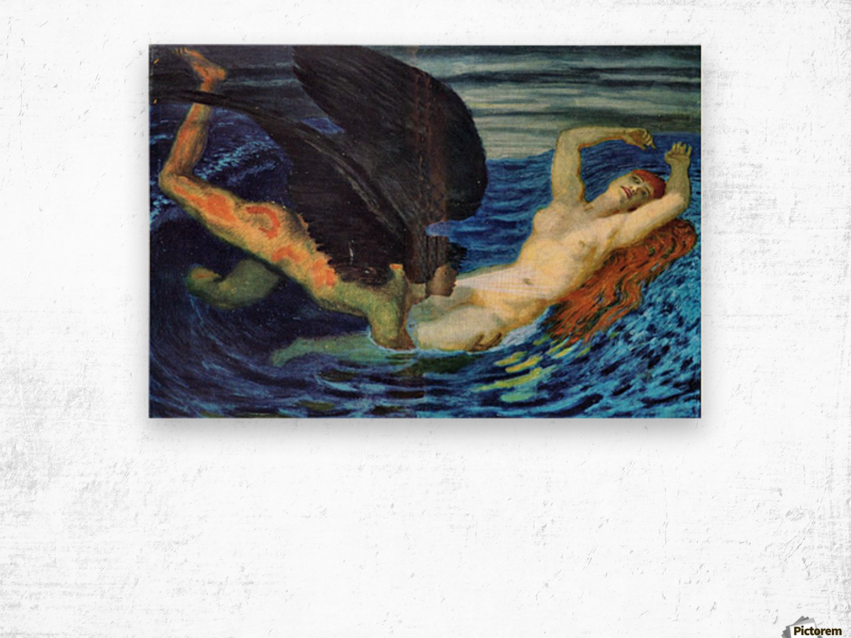 Wind and Wave by Franz von Stuck Wood print