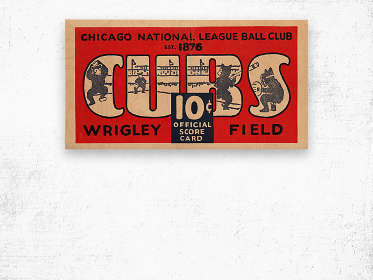 1929 Chicago Cubs score card Wood print