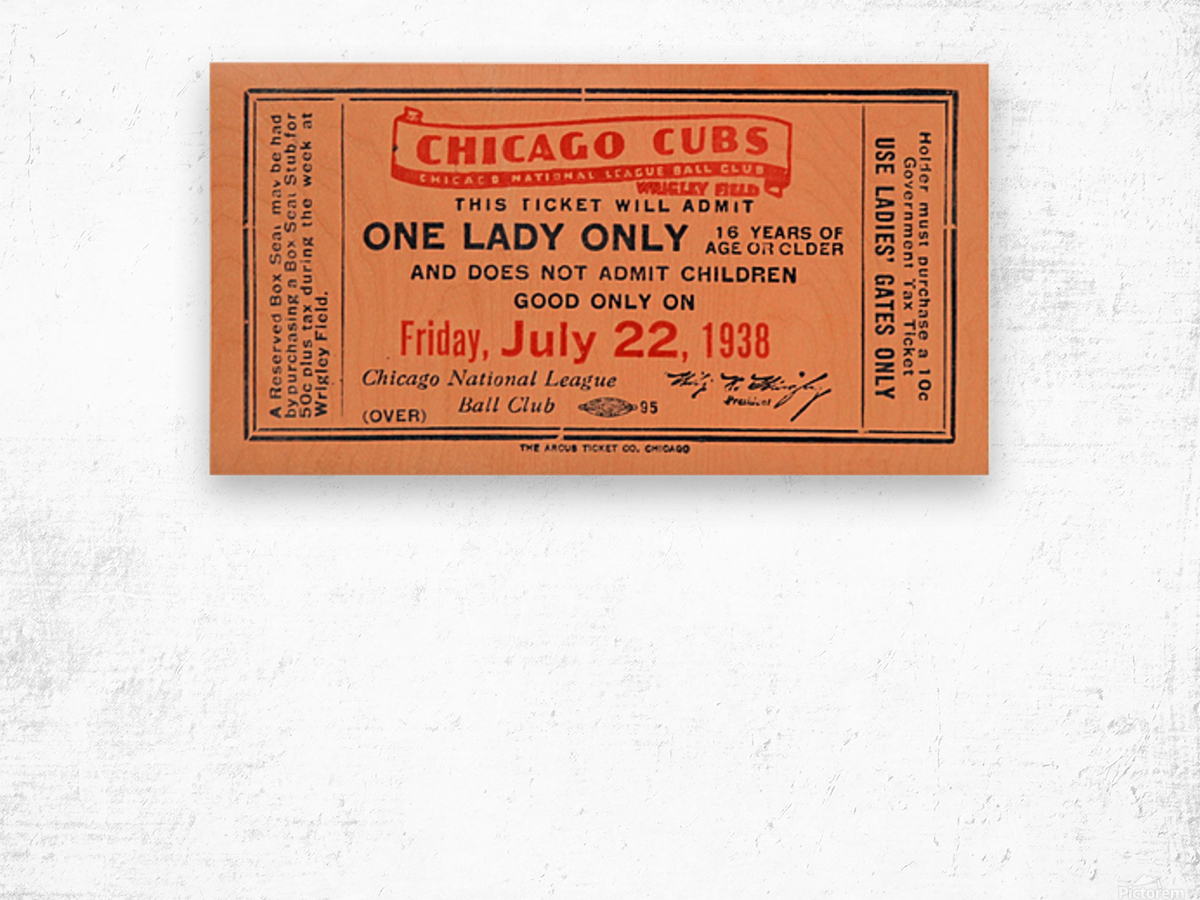 1938 Chicago Cubs World Series Ticket Wood print