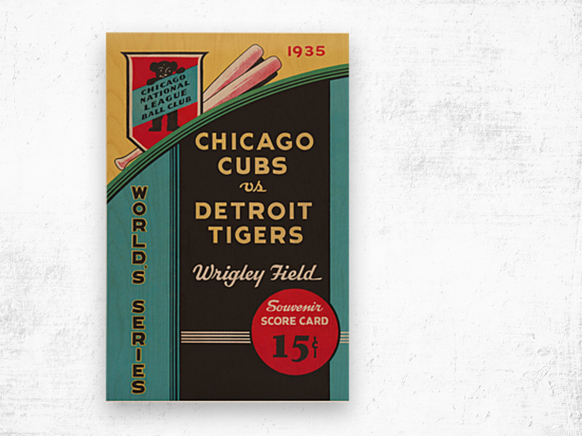 1935 Chicago Cubs World Series Program Cover Wood print