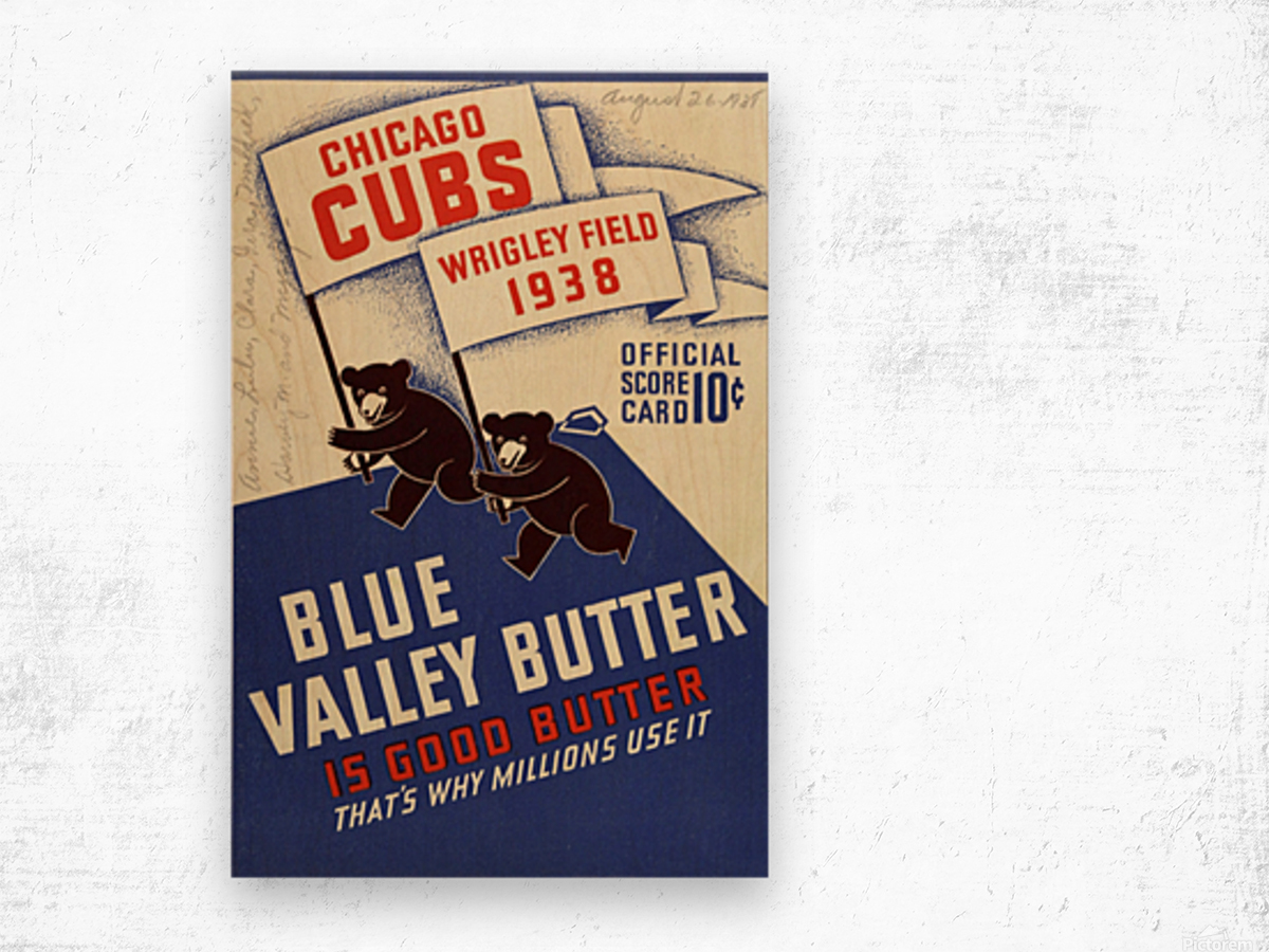 1938 Chicago Cubs Program Cover Wood print