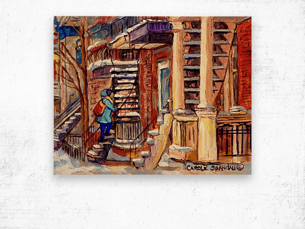 MONTREAL PAINTING PLATEAU MONT ROYAL WINTER SCENE GIRL WALKING OUTDOOR STAIRS Wood print