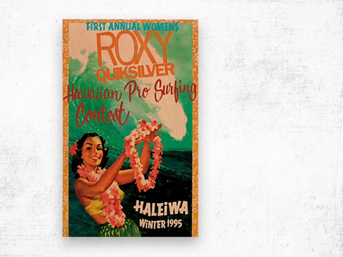 1995 ROXY QUICKSILVER HAWAII PRO Surfing Competition Poster Wood print