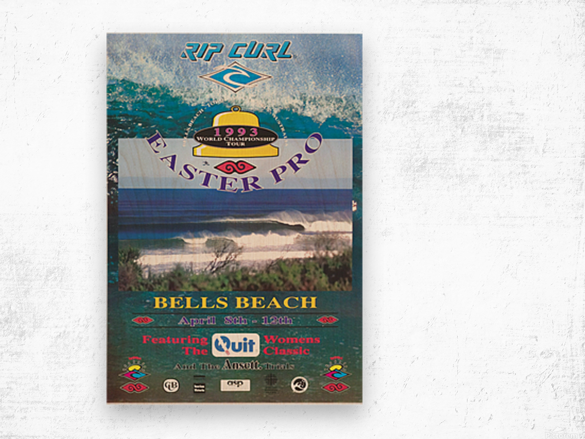 1993 RIP CURL BELLS BEACH EASTER Surfing Championship Competition Print - Surfing Poster Wood print