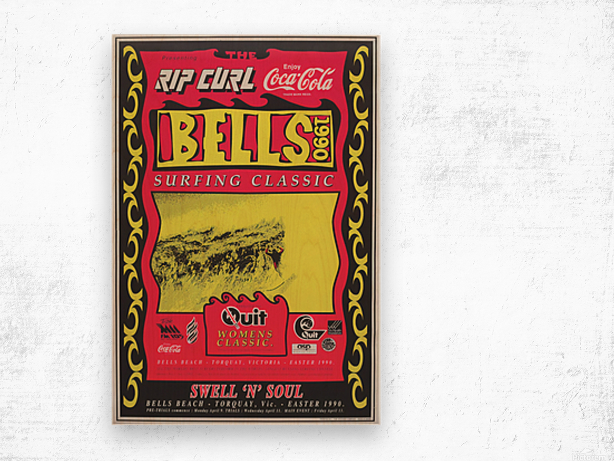 1990 RIP CURL BELLS BEACH EASTER Surfing Championship Competition Print - Surfing Poster Wood print
