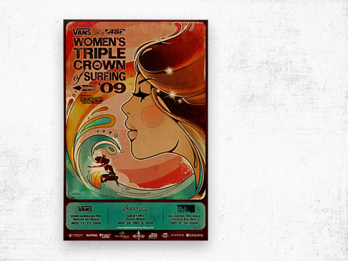 2009 Womens VANS TRIPLE CROWN OF SURFING Competition Poster Wood print