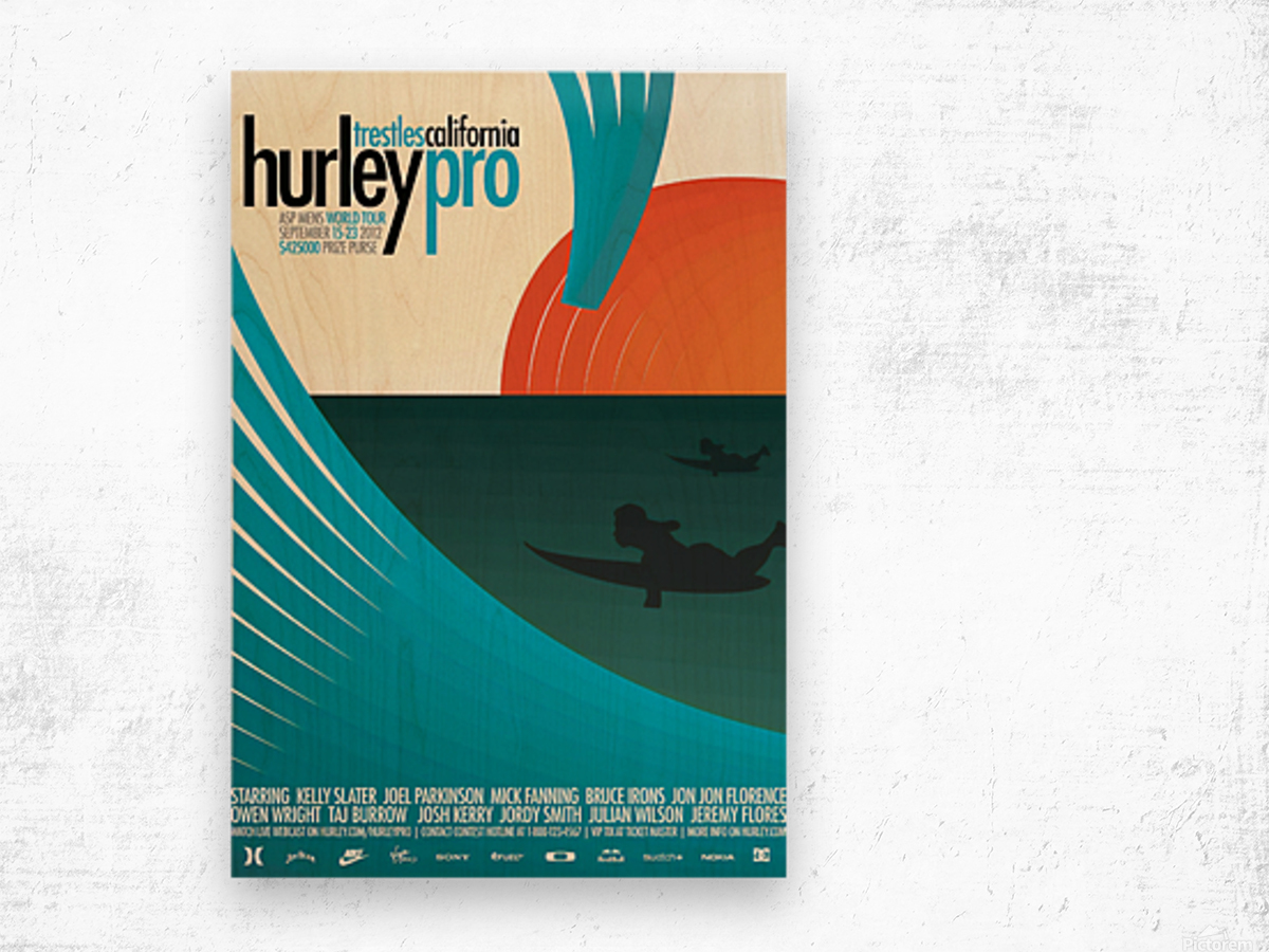 2012 HURLEY PRO TRESTLES Surf Competition Poster Wood print