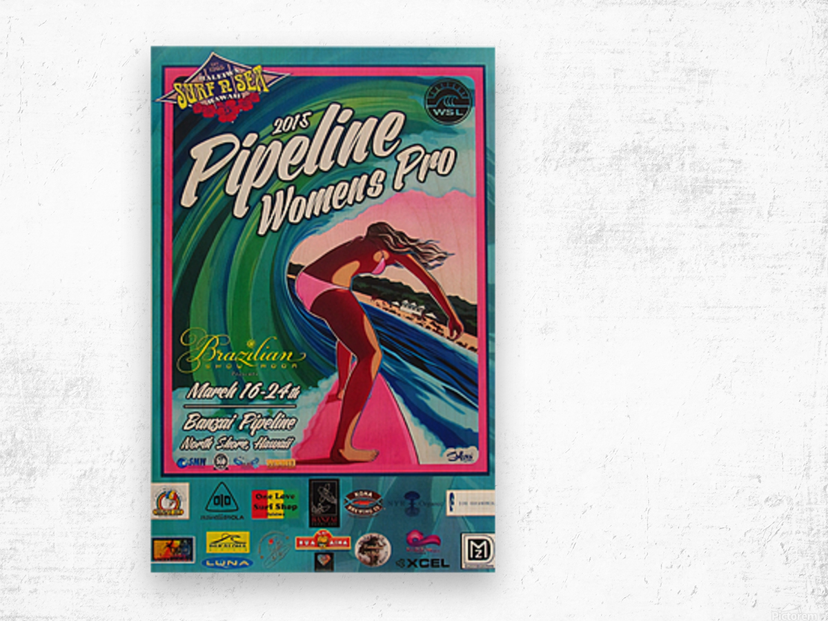 2015 PIPELINE WOMENS PRO Surfing Competition Print Wood print