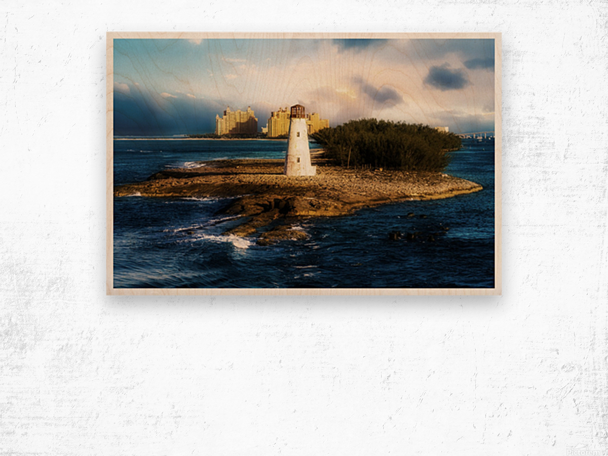 Bahamas Lighthouse with Resort Soft Wood print