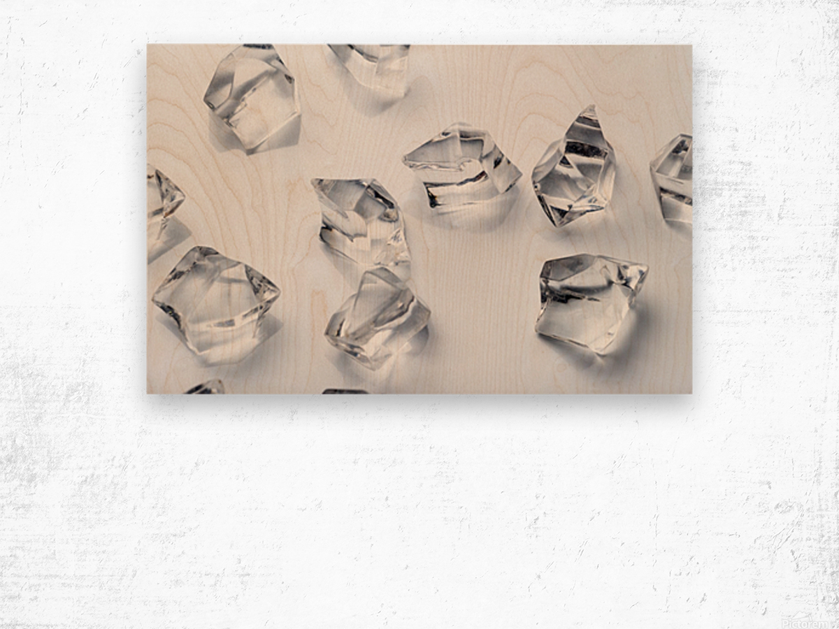 Crystals on the white background Wood print