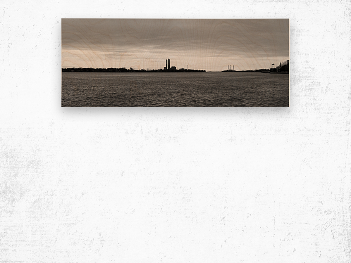 Saint Clair River Gray Day 051219 BW Wood print
