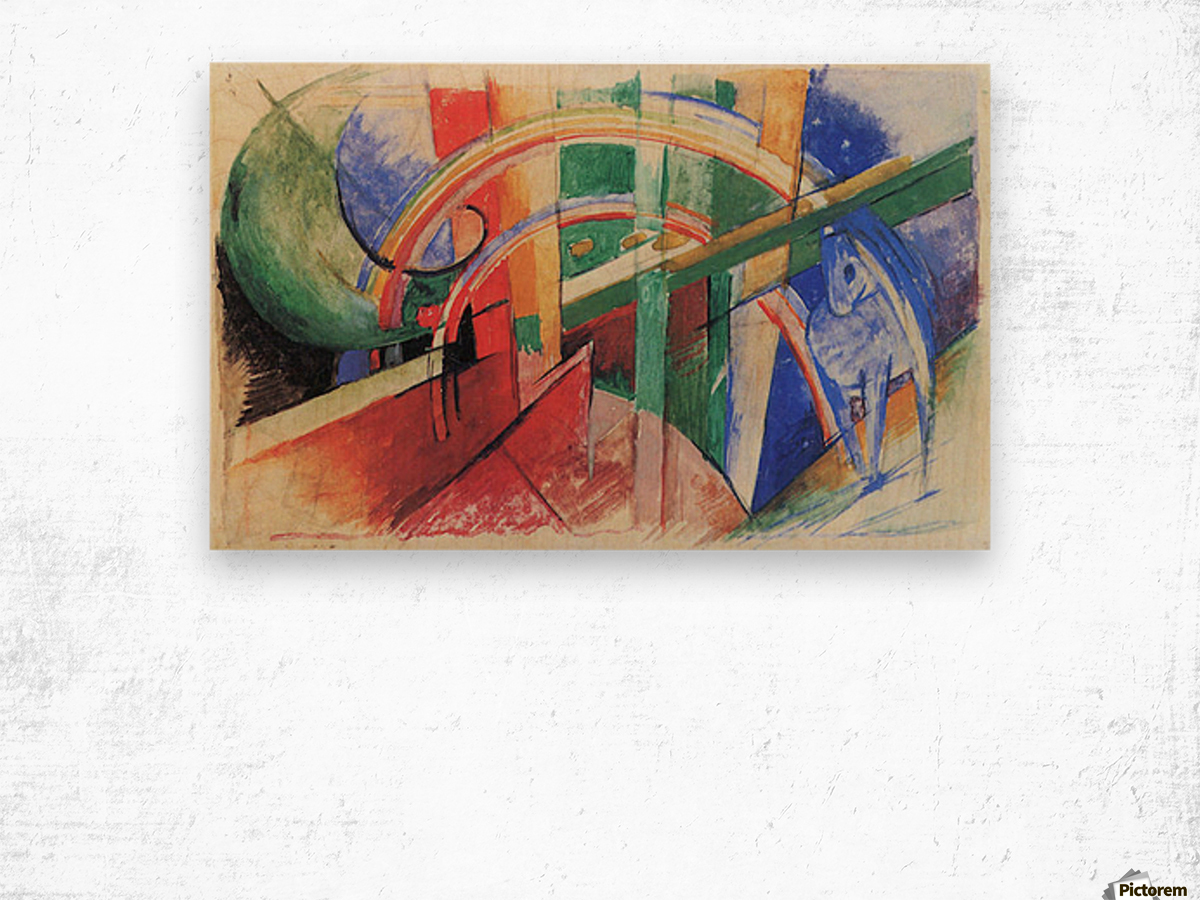 Blue horse with rainbow by Franz Marc Wood print