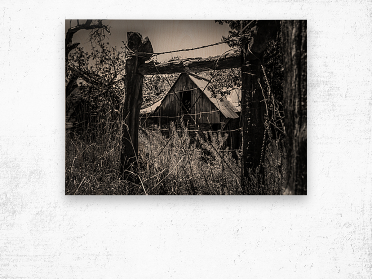 Abandoned Black and White Wood print