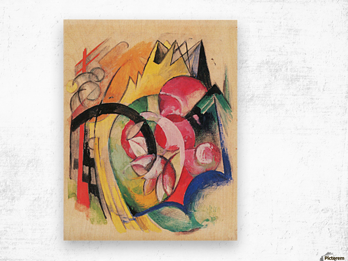 Colored flowers by Franz Marc Wood print