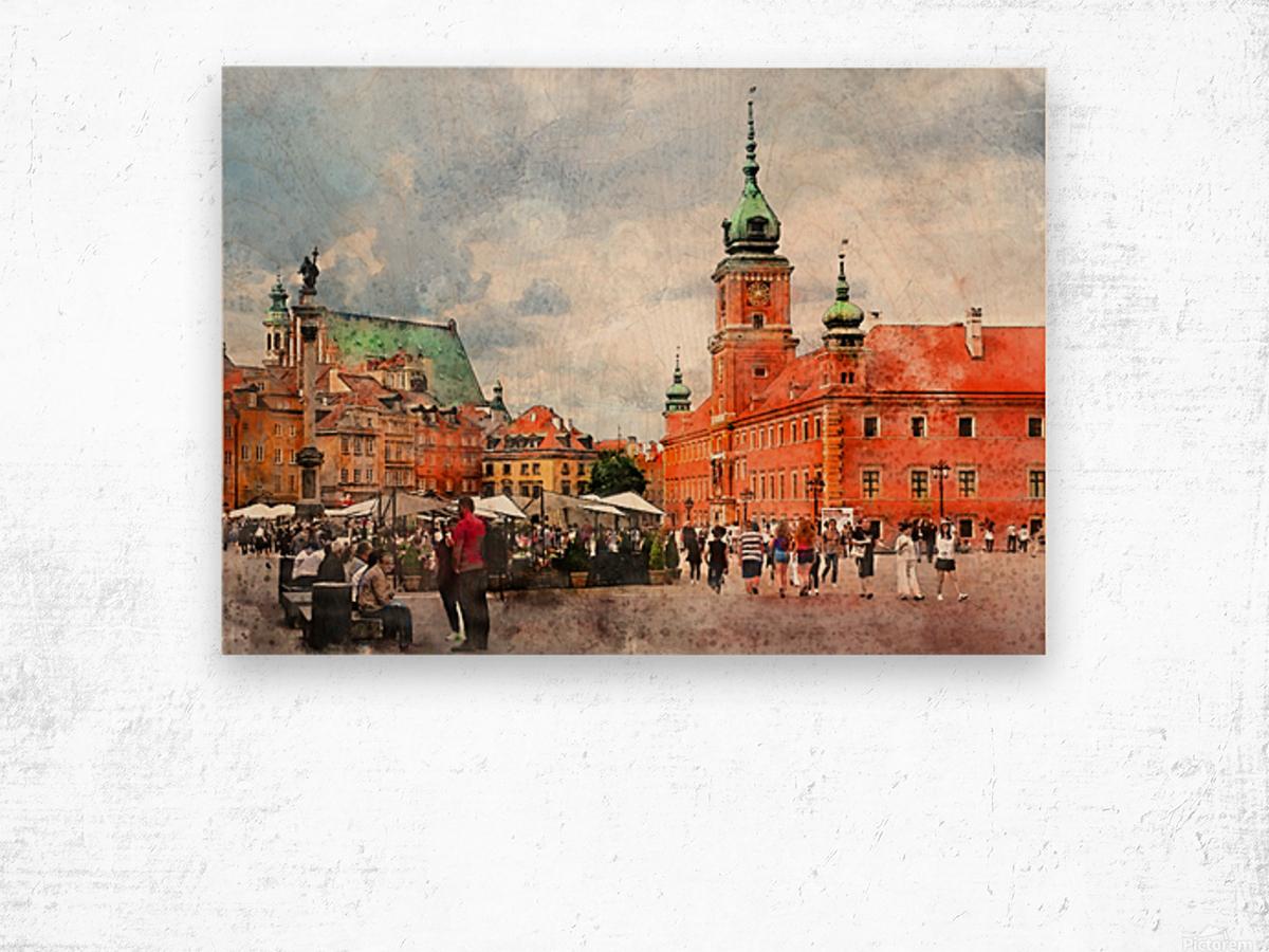 Warsaw city art Wood print