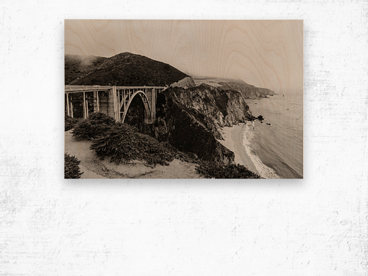 Bixby Bridge B&W Impression sur bois