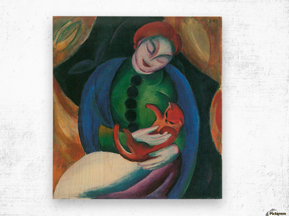 Girl with a Cat II by Franz Marc Wood print