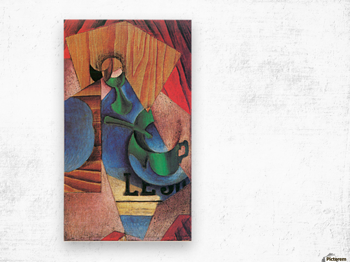 Glass, cup and newspaper by Juan Gris Wood print
