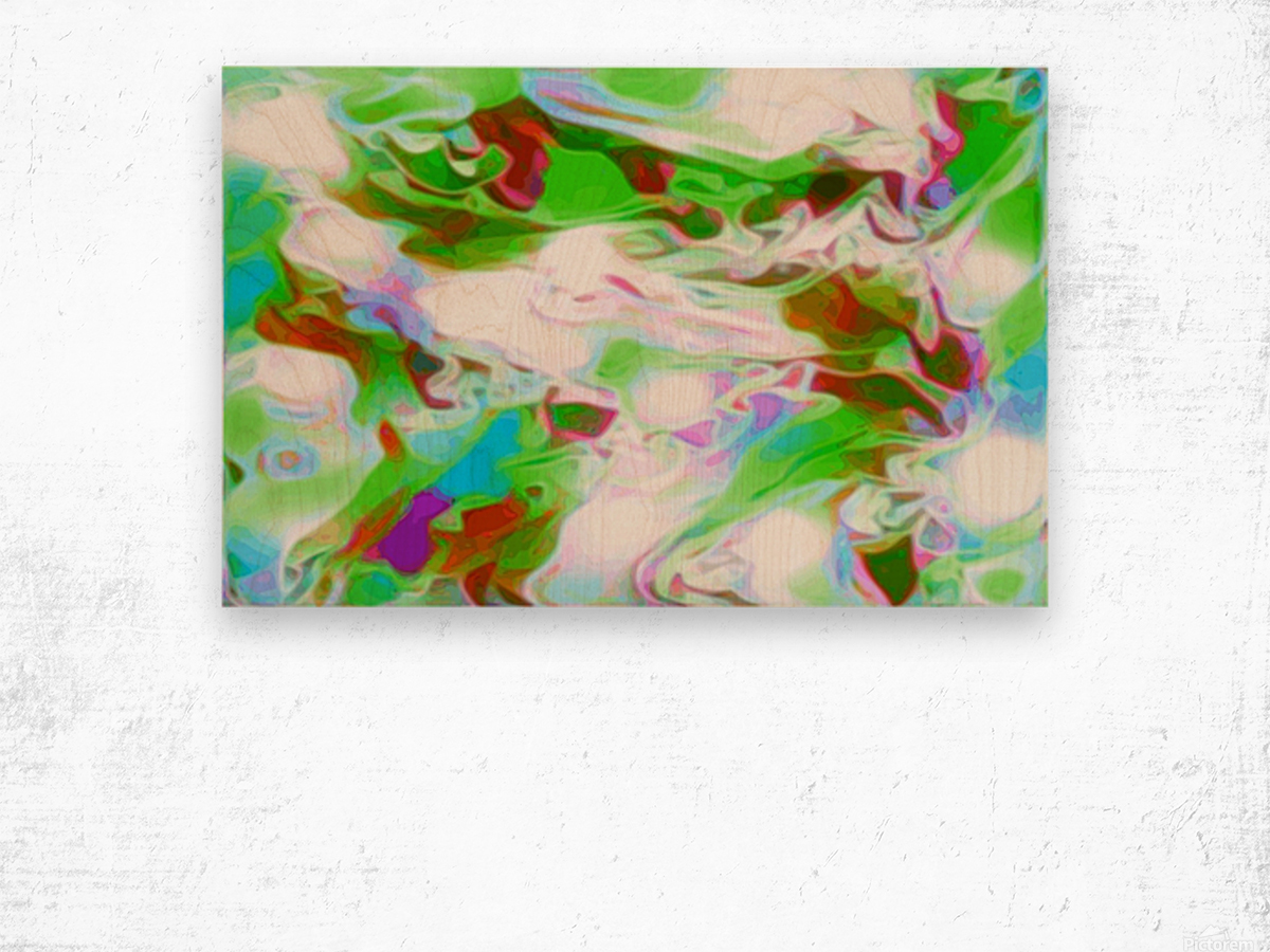 Green Glass Window - multicolor abstract swirls wall art Wood print