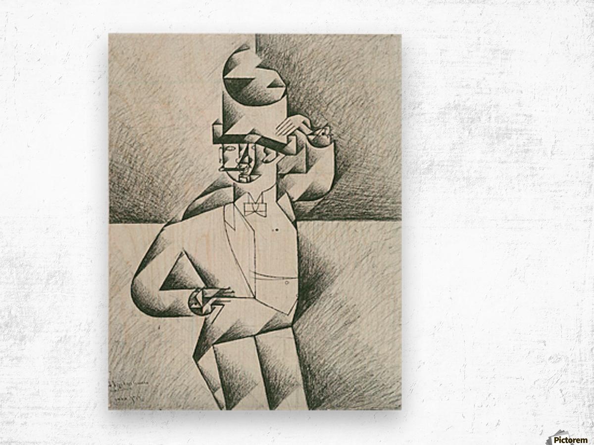 Man in Cafe by Juan Gris Wood print