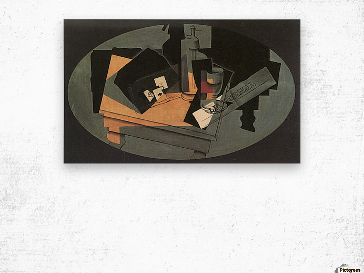 Playing cards and siphon by Juan Gris Wood print