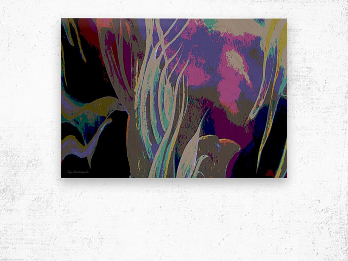 Colorful Melody Waves Wood print