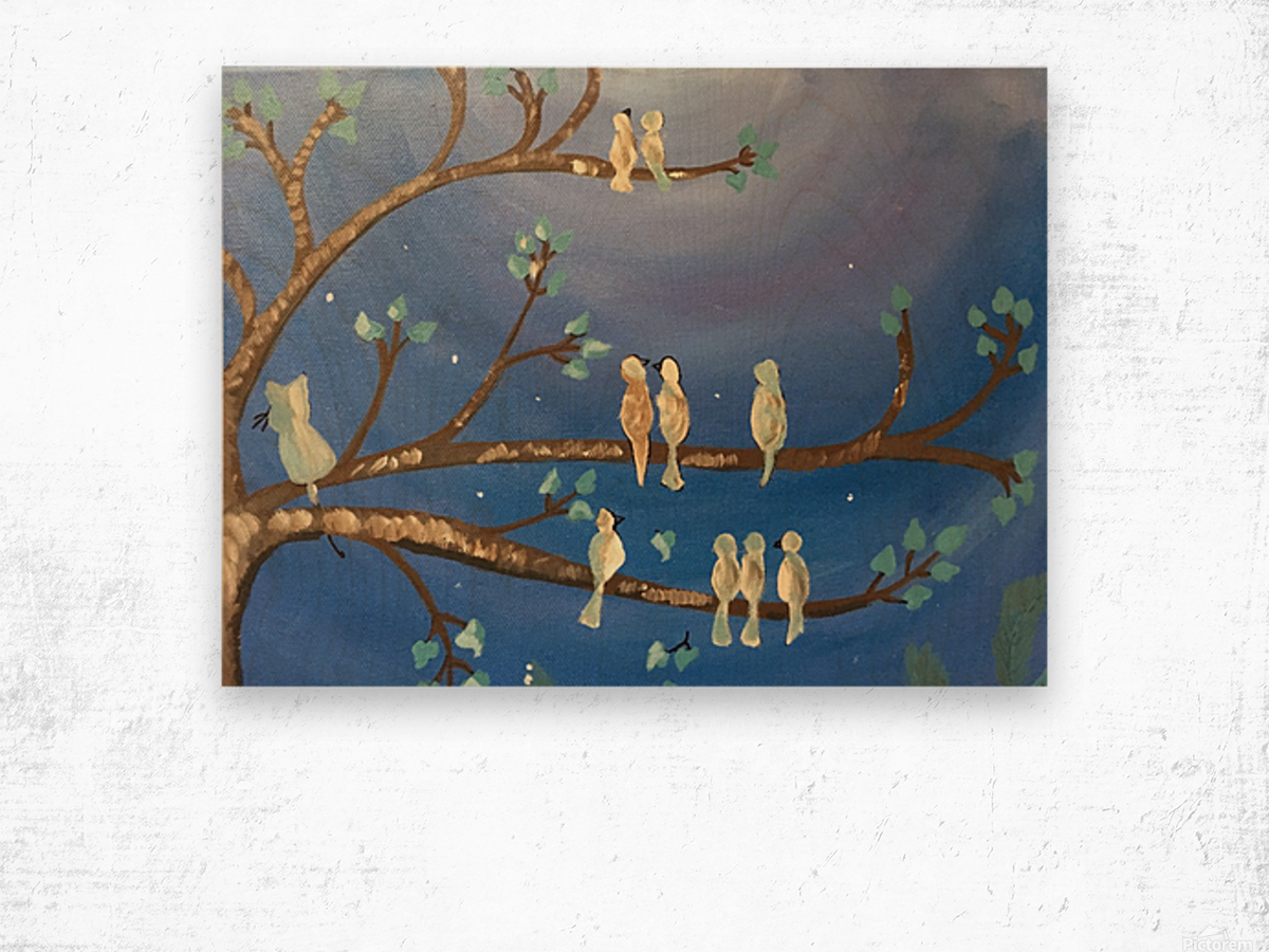 Birds on a limb Wood print