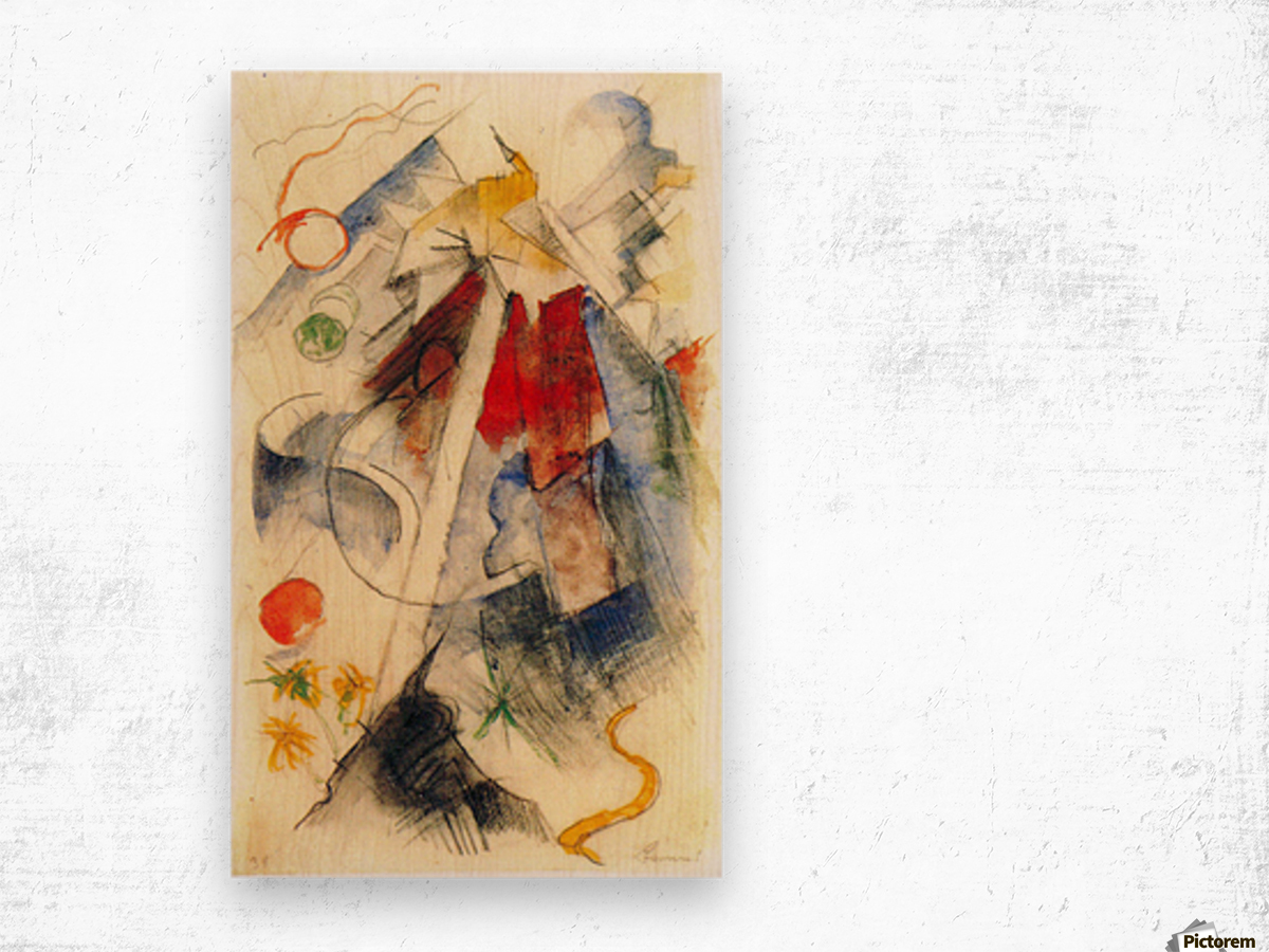 Sketch of the Brenner road -1- by Franz Marc Wood print