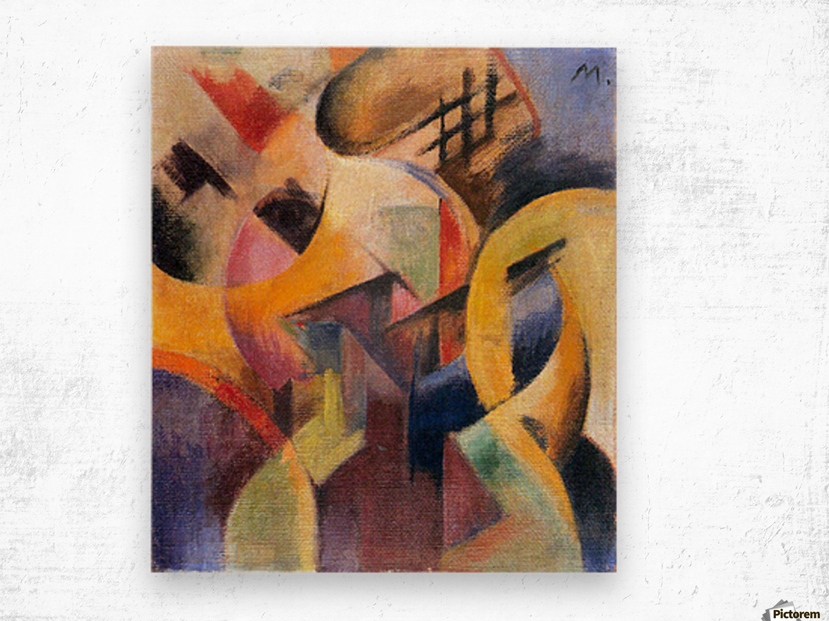 Small composition I by Franz Marc Wood print