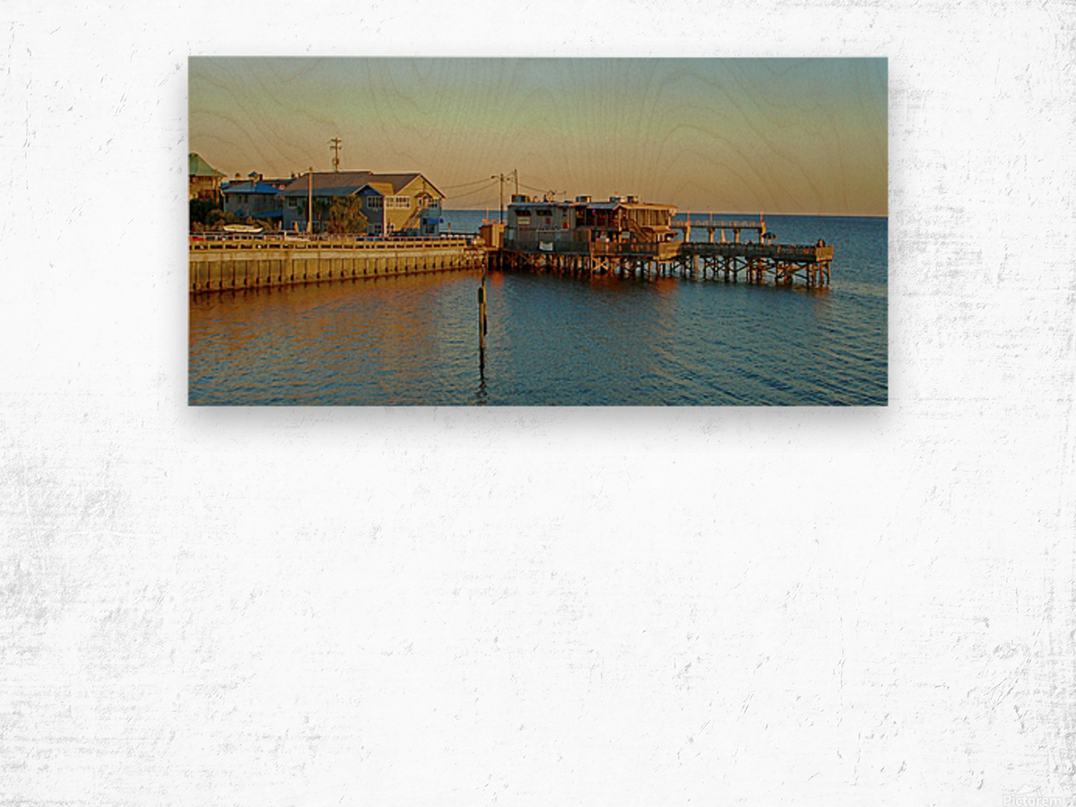 Cedar Key Florida - Sunset On The Wharf Wood print