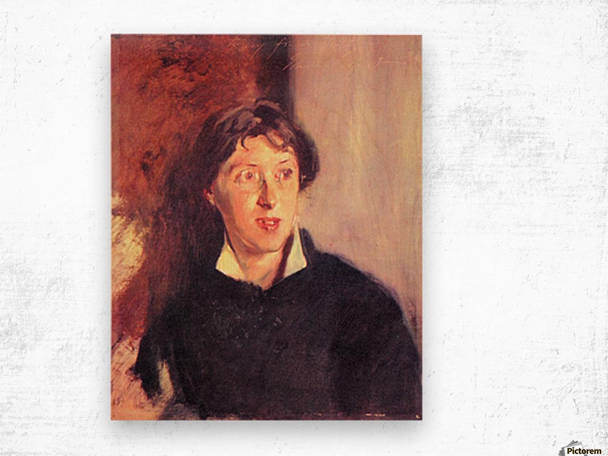 Portrait of Vernon Lee by John Singer Sargent Wood print