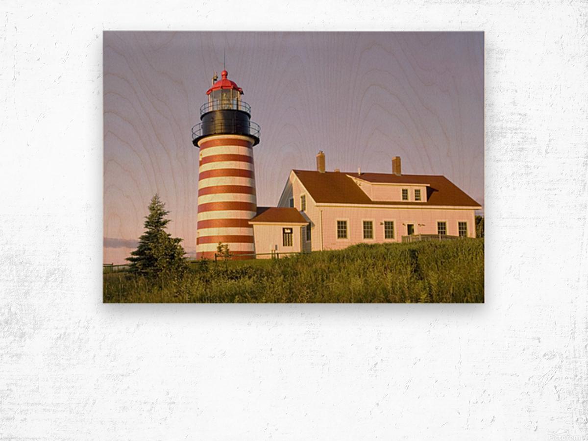 Dawn At Quoddy Head Light Wood print