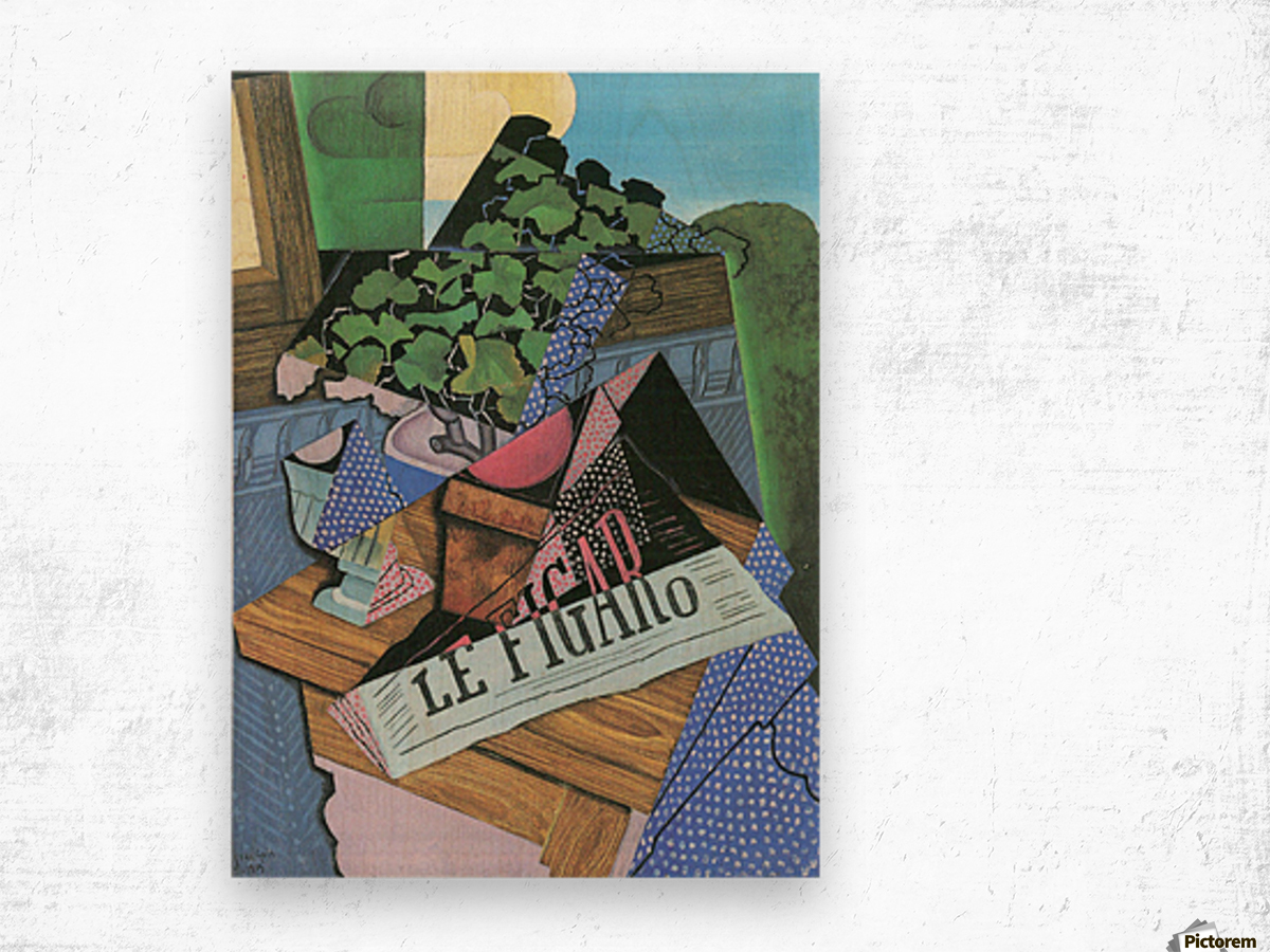 Still Life with geraniums by Juan Gris Wood print