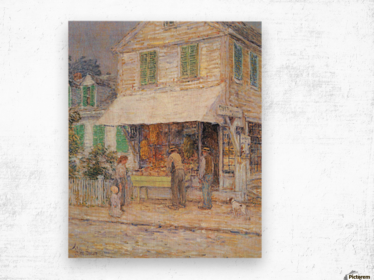Provincial town by Hassam Wood print