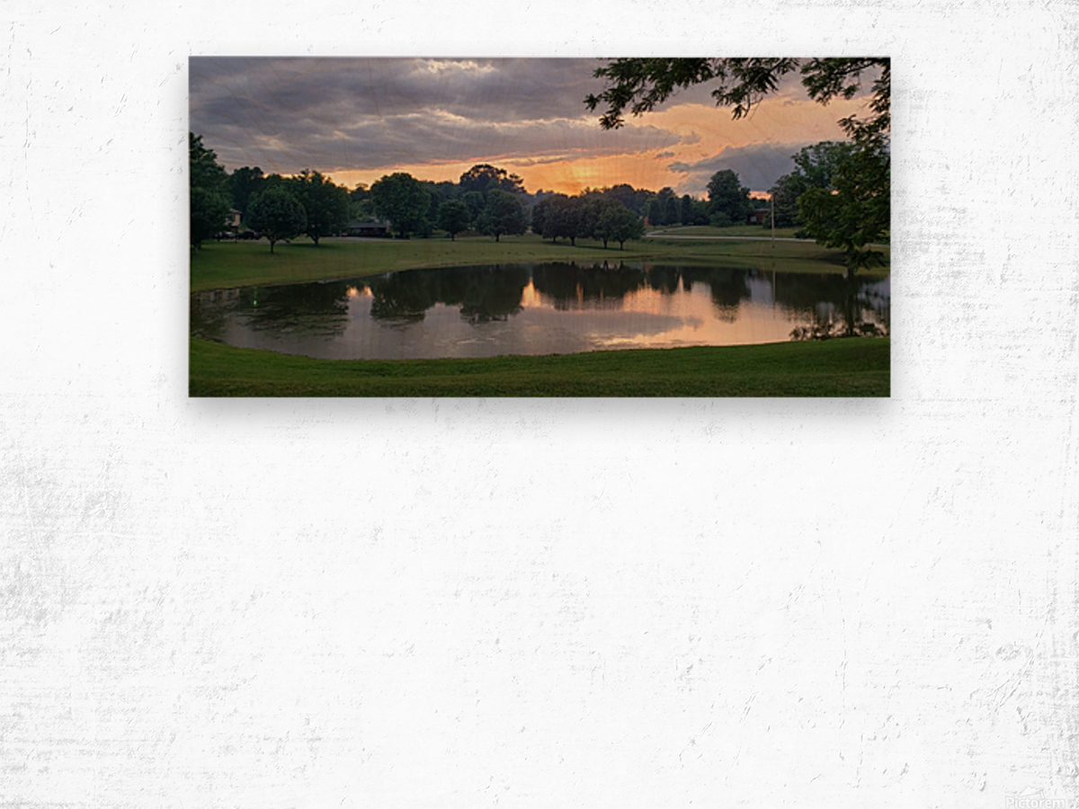 Sunset Pond Wood print