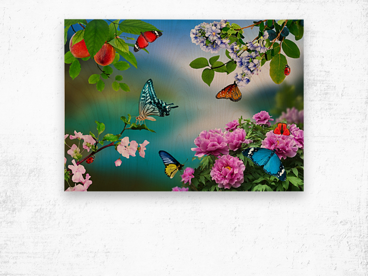 Holiday of life. Butterflies Flowers Wood print