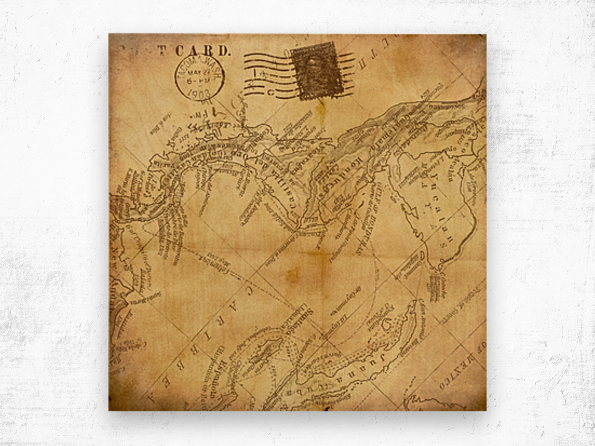 vintage map background paper Wood print