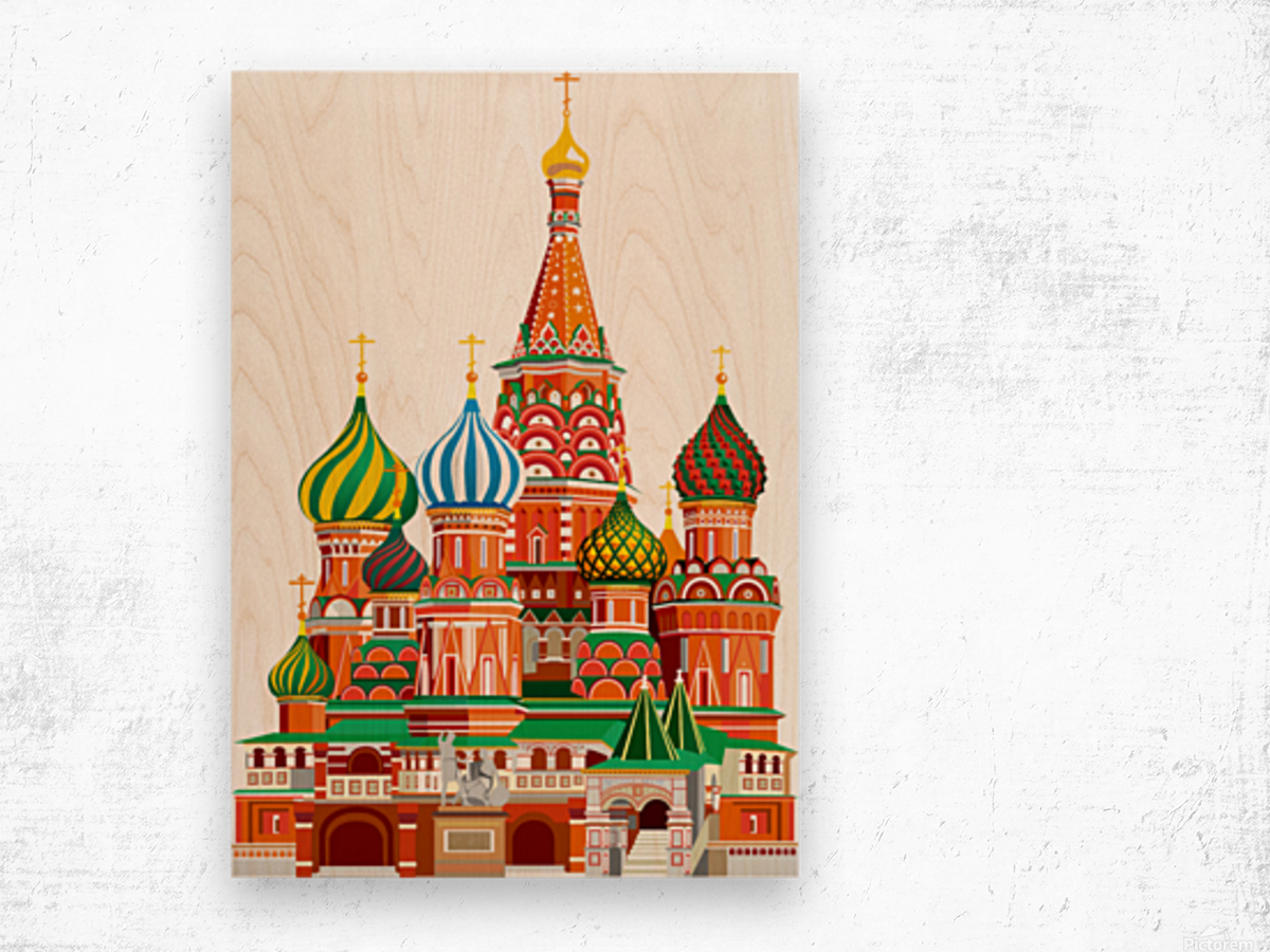 moscow kremlin saint basils cathedral red square l vector illustration moscow building Wood print