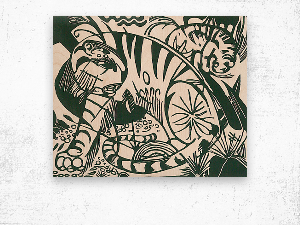 Tiger -2- by Franz Marc Wood print