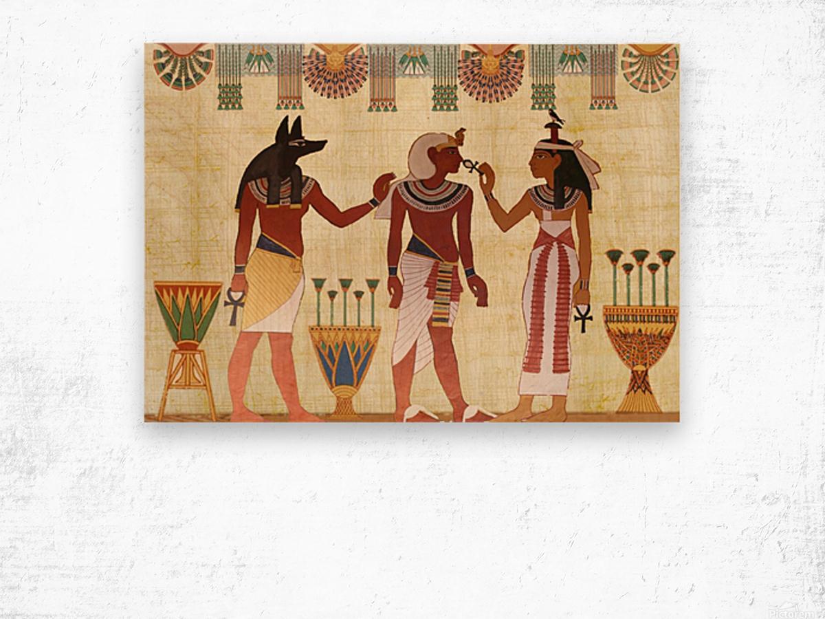 egyptian design man woman priest Wood print