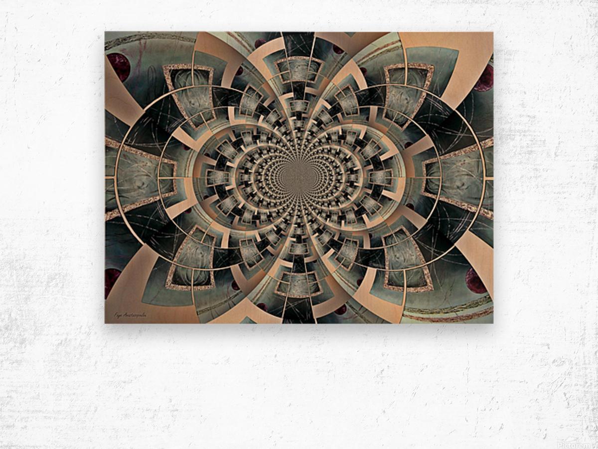 Graphic Ornamental Silver Wood print