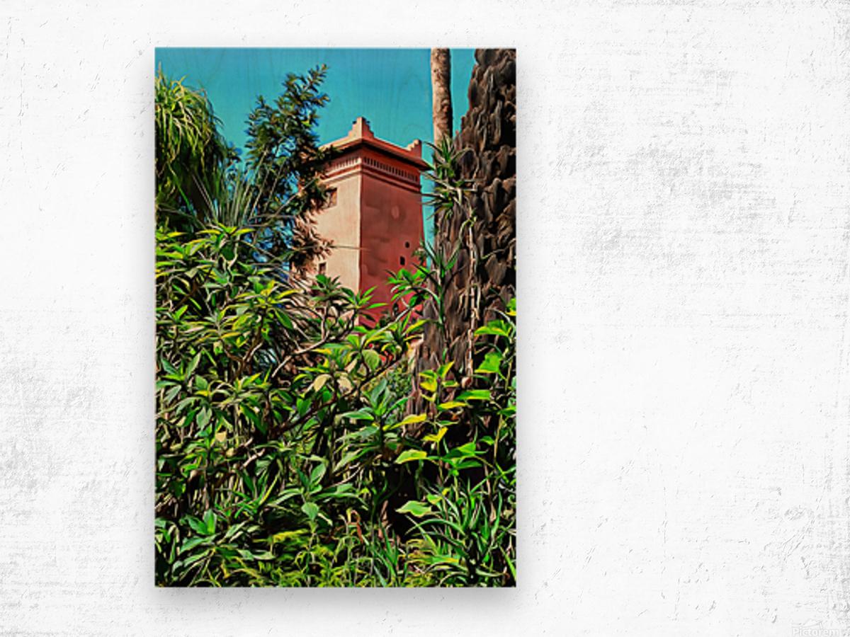 Tower At Jardin Majorelle Marrakech Wood print