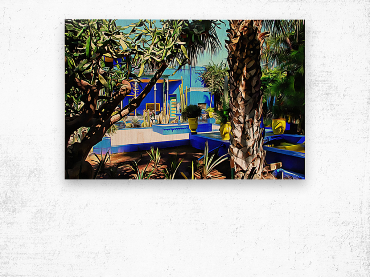 Yellow and Blue Contrasts Jardin Majorelle Wood print