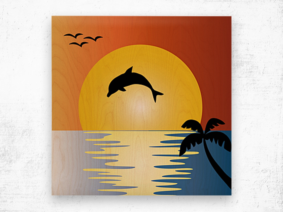 ocean sunset dolphin palm tree Wood print