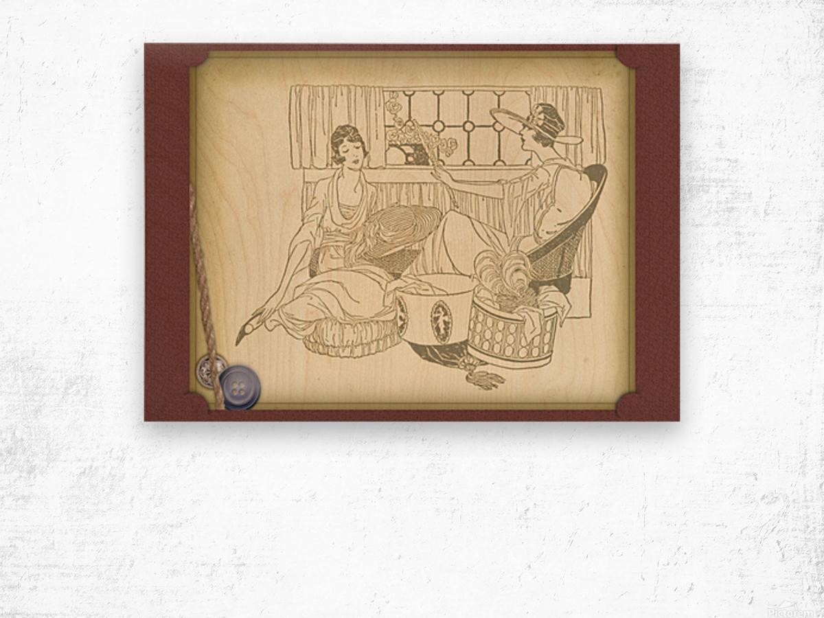 vintage card greeting ladies Wood print