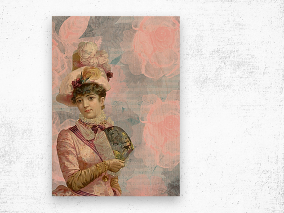 french vintage girl feathers Wood print