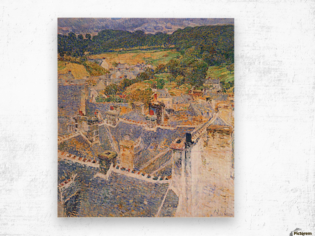 Roofs, Pont-Aven by Hassam Wood print